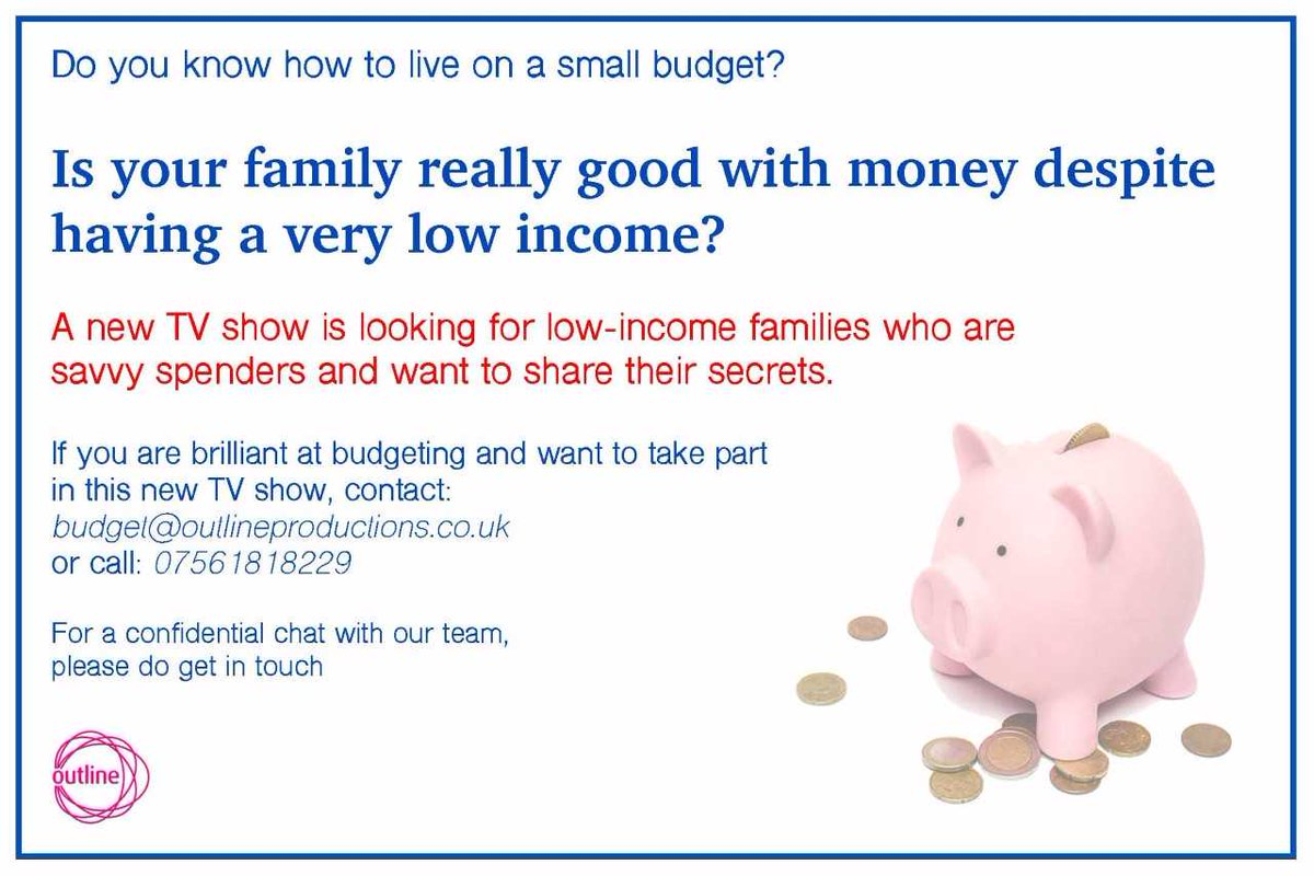 PLS RT #casting #tvprogramme #pilot #families #lowincome #greatwithbudgets #savvyspenders #martinlewis #reallife #getintouch #funshow<br>http://pic.twitter.com/IObNq86iWx