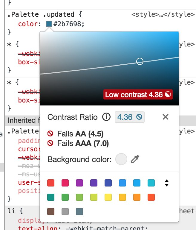 I love the detail in the colour picker in @ChromeDevTools. Contrast a11y information is