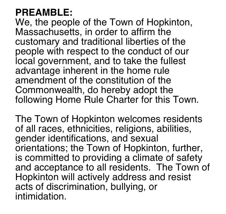 Proposed by residents at ATM &amp; accepted at Election  #HopkintonMa is a #welcoming community. We will resist #discrimination and #bullying <br>http://pic.twitter.com/75VU5Inmuf