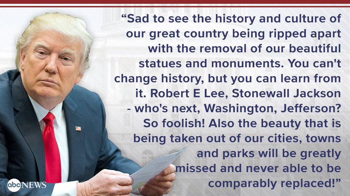 Pres. Trump: 'Beauty' being taken out of cities with removal of statues 'will be greatly missed and never able to be comparably replaced!'