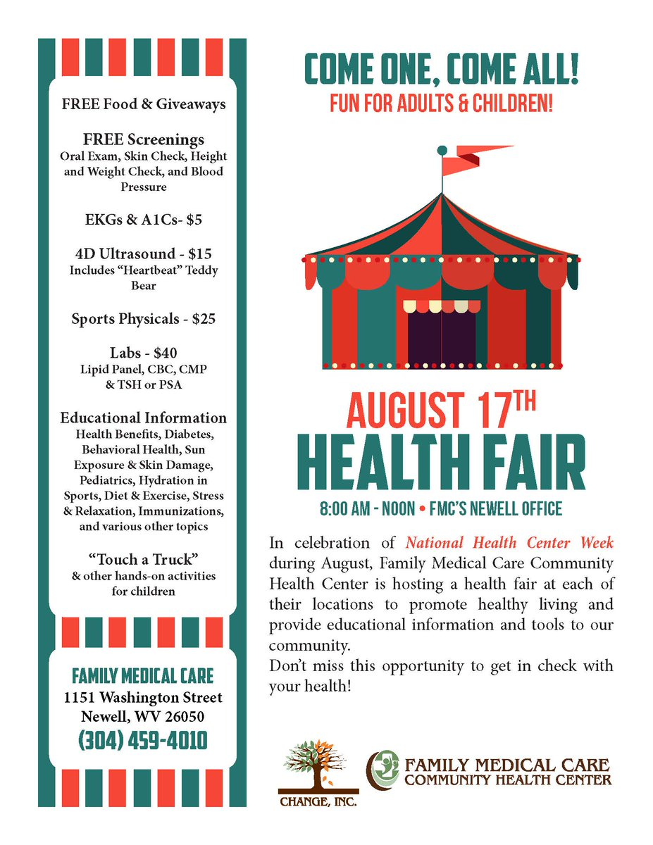 Our Newell Health Fair is going on NOW until noon! Stop out &amp; visit our #CHC during #NHCW17 to learn more about what we do! #CommunityAction <br>http://pic.twitter.com/KoQr8DAp4r