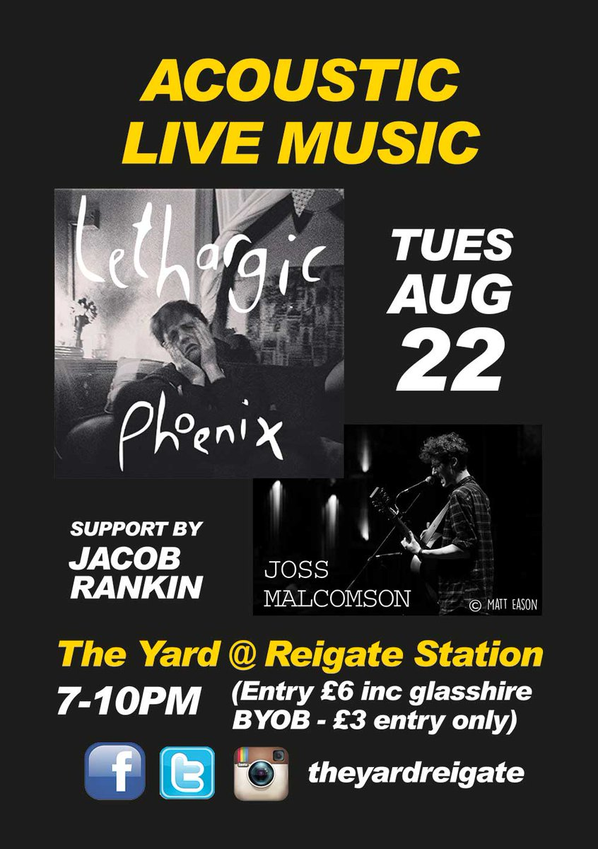 Live Music Next Tuesday 22 Aug 7-10 BYOB. Lethargic Phoenix and Joss Malcolmson supported by Jacob Rankin. #livemusic #gigs #reigate #events<br>http://pic.twitter.com/LunrCw0hvZ
