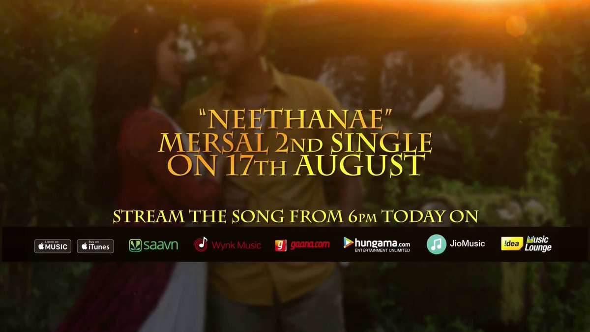 2 hrs to go!! #Neethanae #Mersal @arrahman https://t.co/6VvYgvH9U7