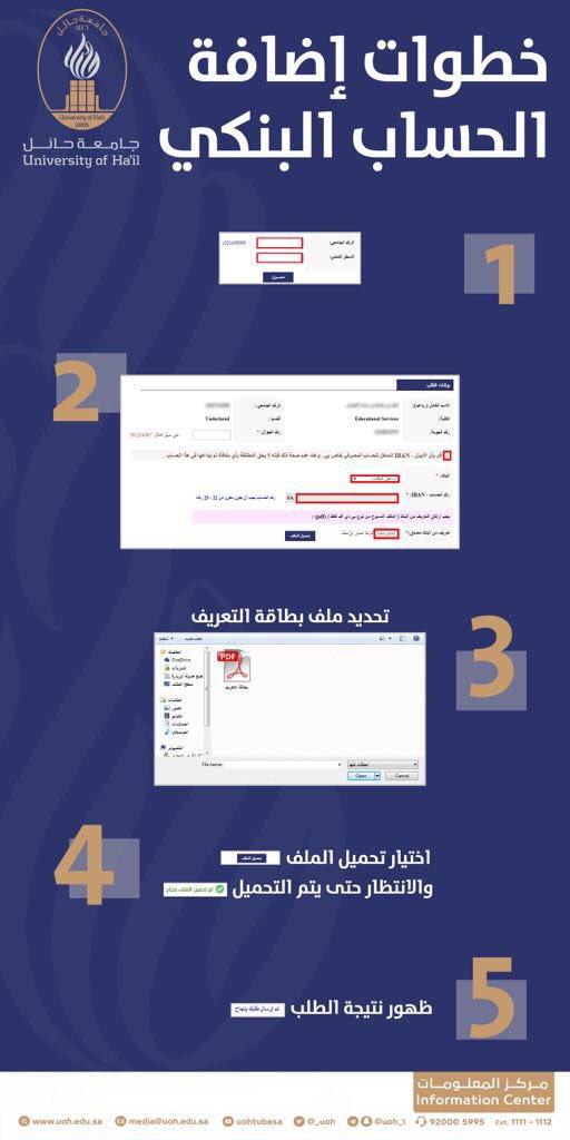 Twitter पर جامعة حائل خطوات إضافة بيانات الحساب البنكي الجاري لحساب الطالب في نظام البانر جامعة حائل