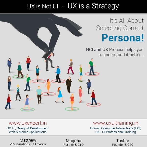 HCI &amp; UX Process helps you to understand &quot;Persona&quot; for your System.  http://www. uxexpert.in  &nbsp;   |  http://www. uxuitraining.in  &nbsp;    @UXExpert1, #HCI, #UX<br>http://pic.twitter.com/EajLboaaOt
