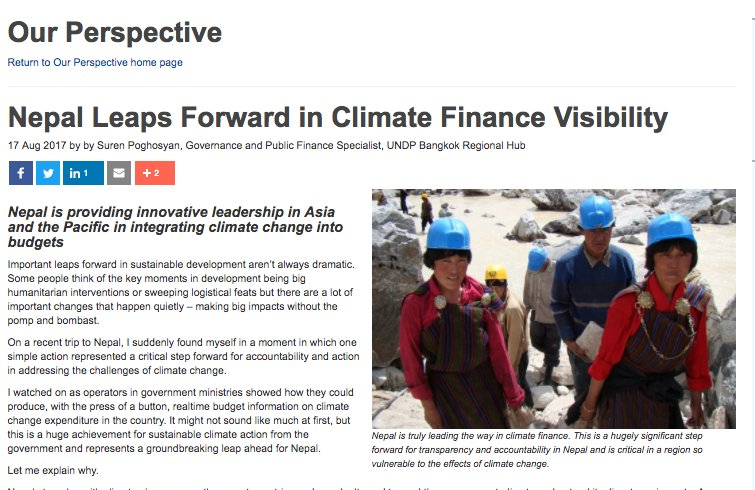 UNDP&#39;s @surenpo on #Nepal&#39;s leadership of Climate Finance Visibility and the little wins that drive our work  http://www. asia-pacific.undp.org/content/rbap/e n/home/blog/2017/8/17/Nepal-Leaps-Forward-in-Climate-Finance-Visibility-.html &nbsp; … <br>http://pic.twitter.com/47vQ8ccJtq