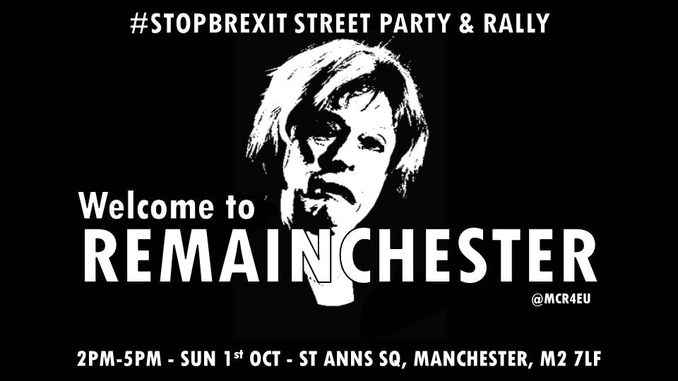 We can&#39;t wait to welcome the @Conservatives to #remainchester on 1st October! #StopBrexit #Manchester #StopBrexitStreetParty<br>http://pic.twitter.com/9rCktC4QsM