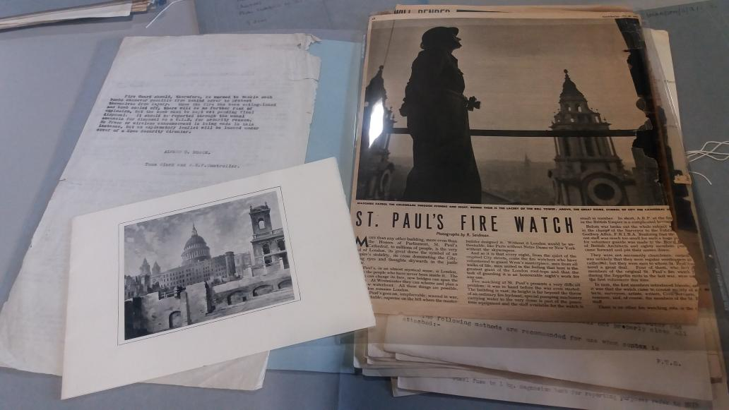 Doing some research with @StPaulsColls  for history resources on the Second World War and the St Paul&#39;s Watch @StPaulsLondon #archives <br>http://pic.twitter.com/I4QNX4yIwU