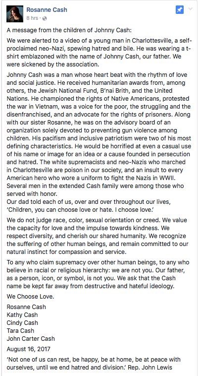What an incredibly powerful statement from @rosannecash & the Cash family. Johnny would be proud.