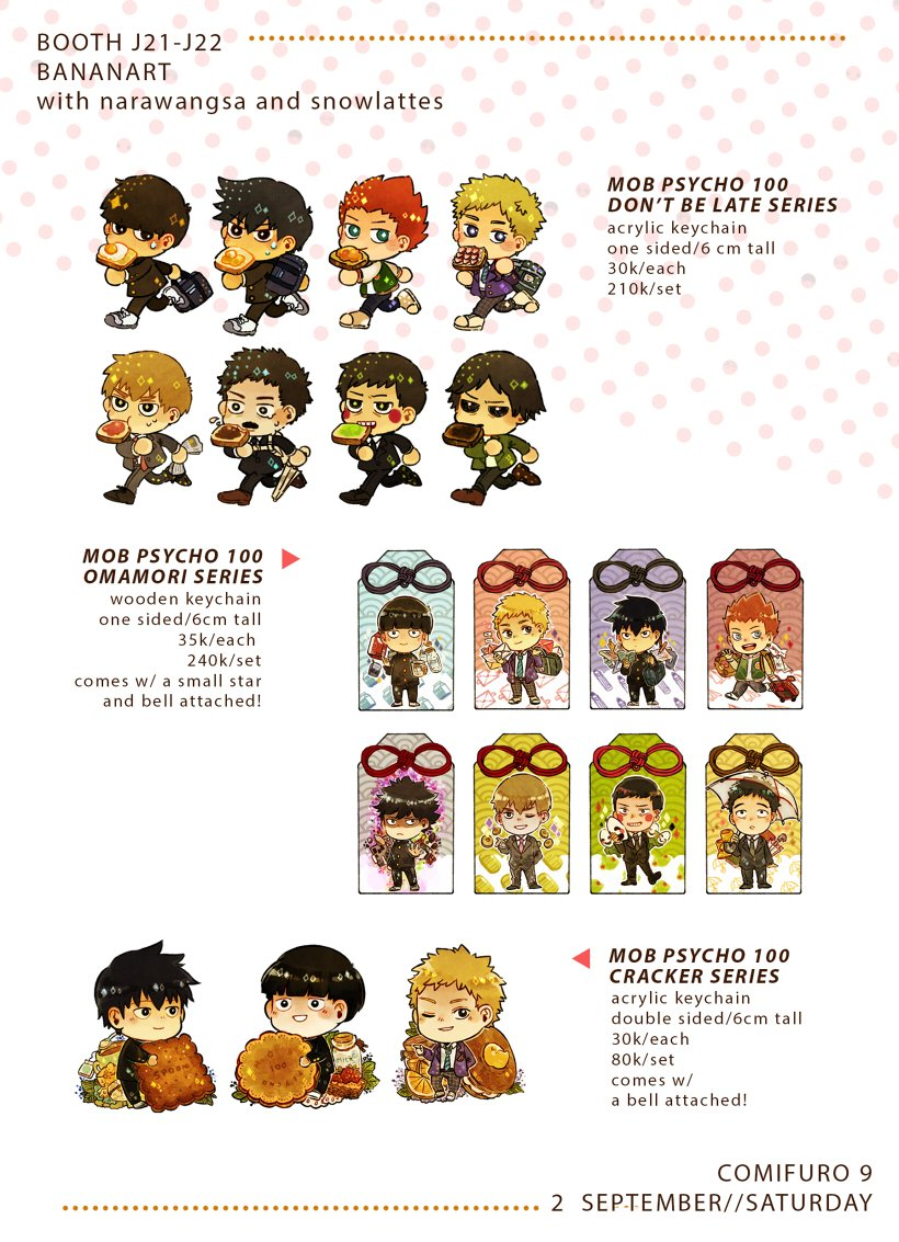 #comifuro9 #MP100 #Mobpsycho100 Here is my (not final) catalogue for mp100 goods at cf...! Visit me at J21-J22! &gt;;D (more at replies)<br>http://pic.twitter.com/hn9hklUW2m