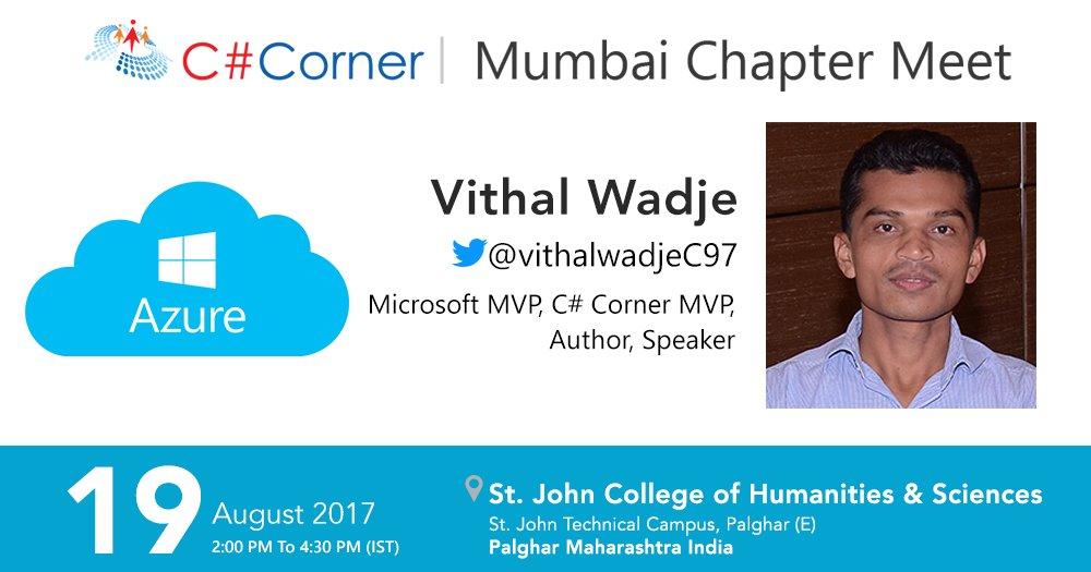Learn Building #MicrosoftAzure #Applications by @vithalwadjec97 at @CsharpCorner Mumbai Chapter Meet! Register now:  https:// goo.gl/xXWJrt  &nbsp;  <br>http://pic.twitter.com/V0n6mNjWp0