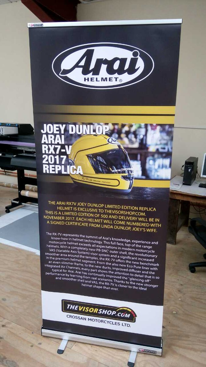 Pull-up banner for @arai_ni printed on-site here in Cookstown #design #print #deliver #largeformat #banners #joeydunlop #onsite <br>http://pic.twitter.com/xcplC0BU7r