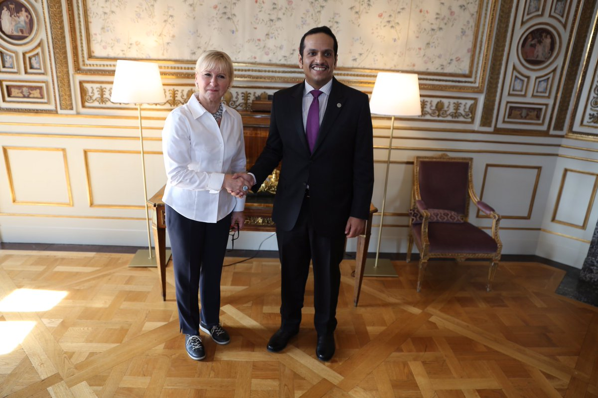 Pleased to welcome Qatar's FM Mohammed Al-Thani on 1st visit to Stockholm. Challenges in the Middle East and bilateral relations discussed.