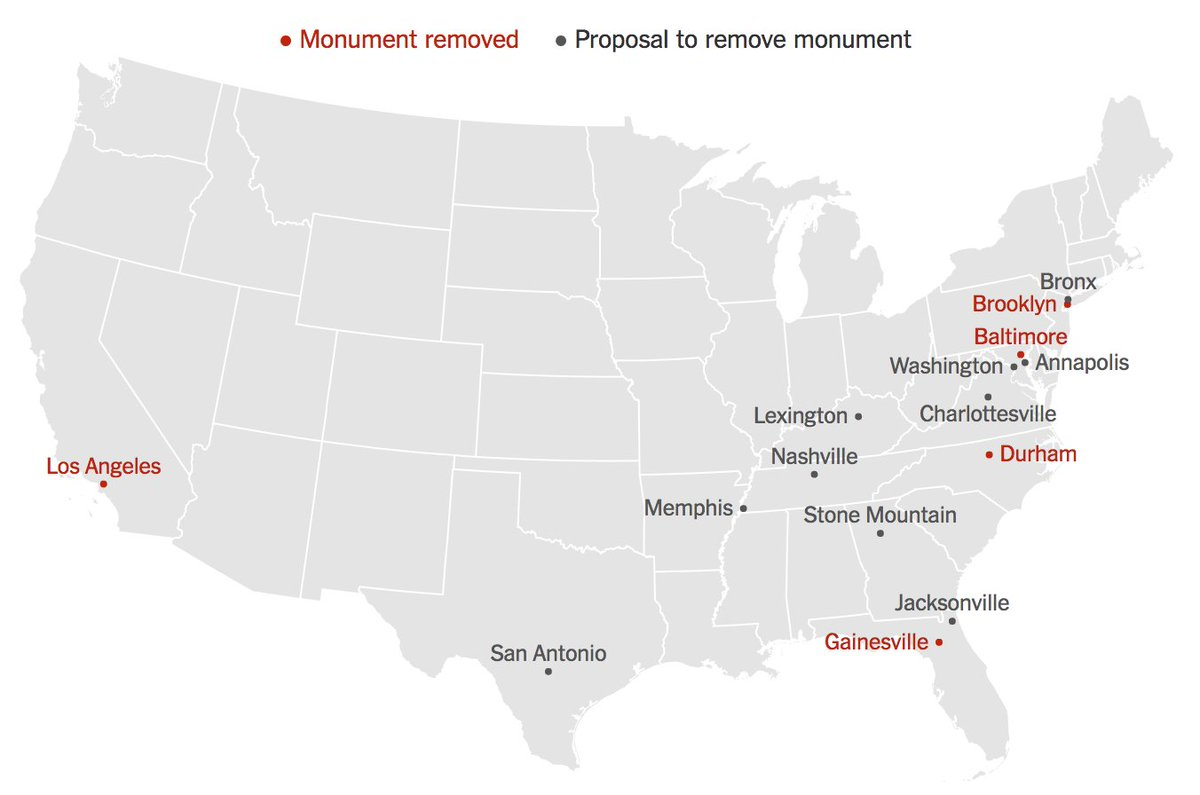 Here's where Confederate monuments are coming down across the U.S. https://t.co/Q1bn7Pxl98