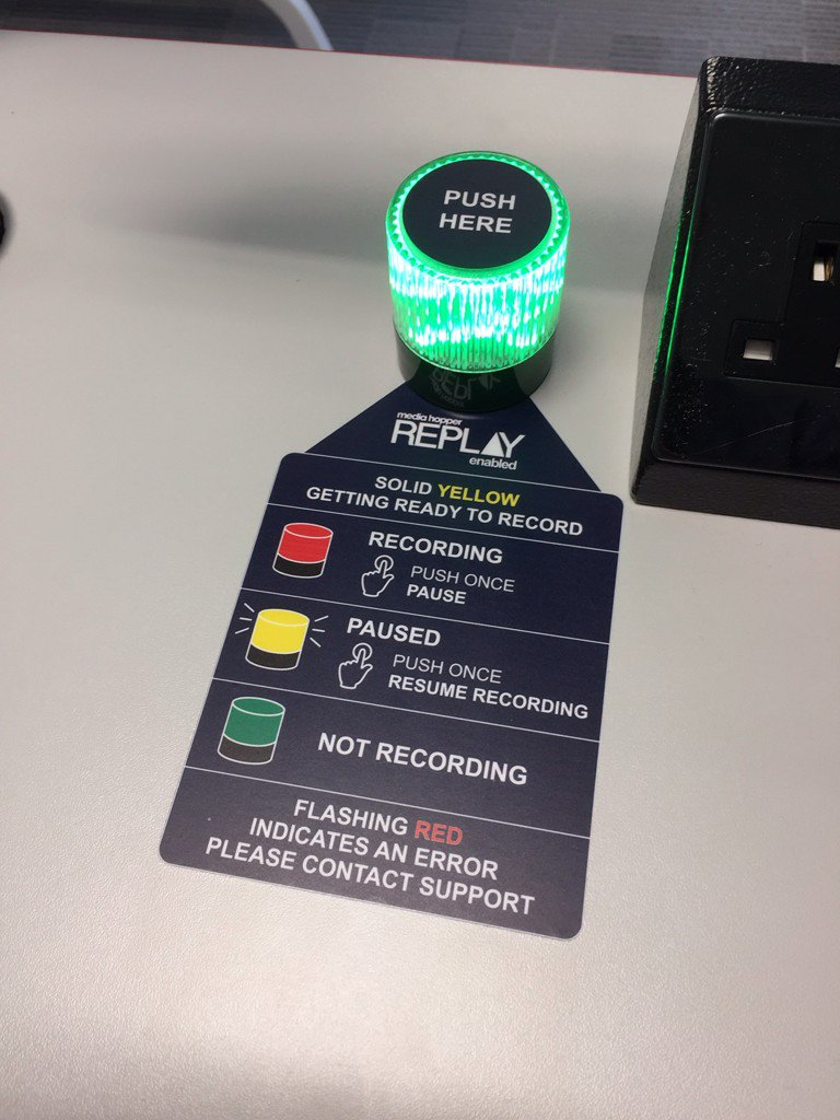 Check out the recording light and guidance for Media Hopper Replay  #lecture #recording #uoeLRP<br>http://pic.twitter.com/J5Ut0dX98P