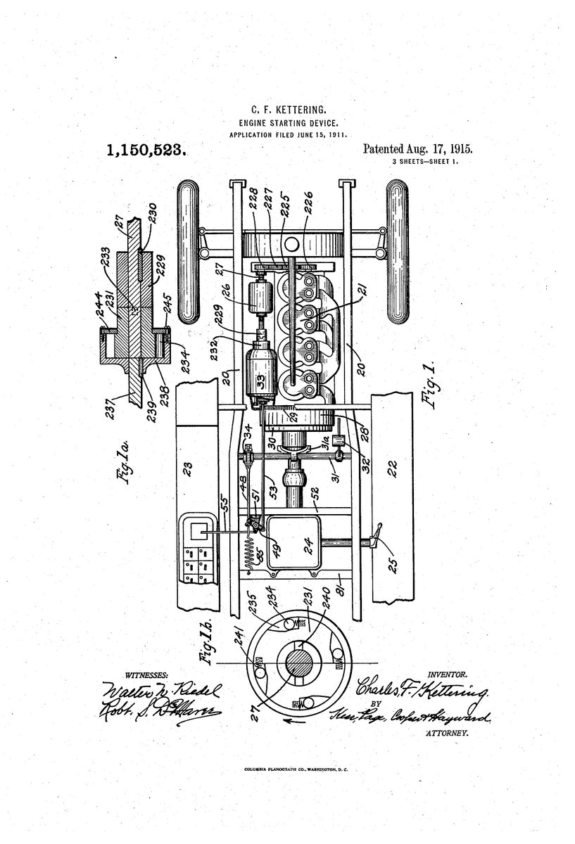 Adam Mossoff On Twitter This Date In Innovation History Charles Kettering Gets Patent 1915 Invention Of 1st Electric Starter For Cars