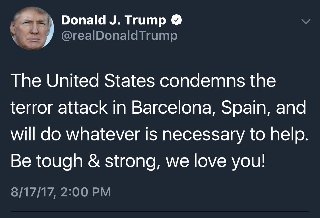 When are you going to call CHARLOTTESVILLE a terror attack, you disloyal, racist son-of-a-bitch?