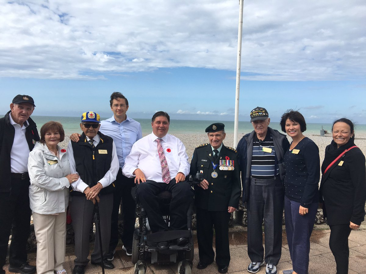 In Dieppe with my colleagues and 4 Canadian veterans who were here on...
