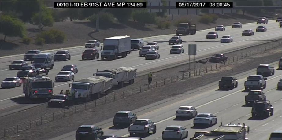 I-10 westbound at 91st Ave: The HOV lane is blocked. #PhxTraffic