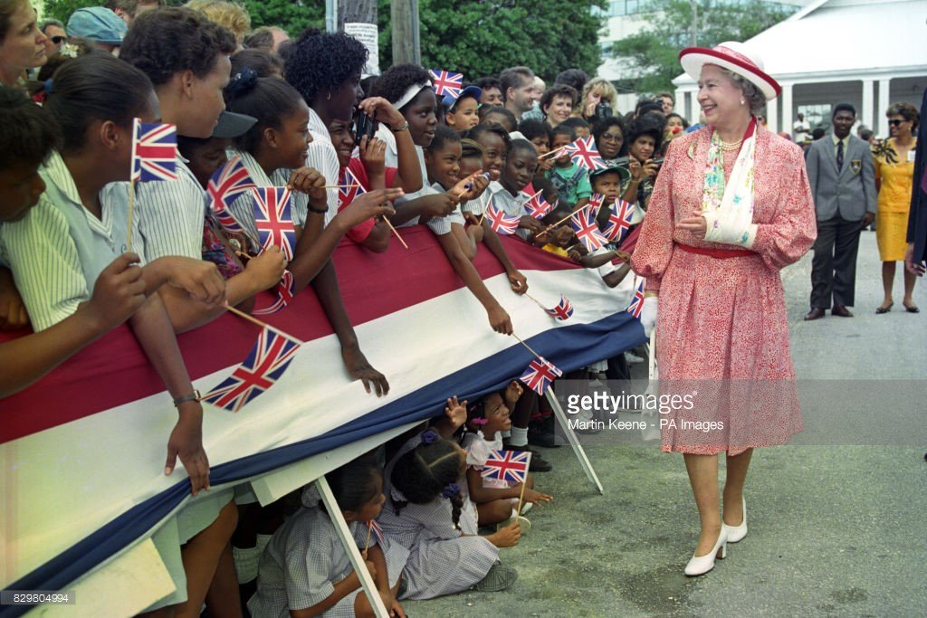 #royal Queen Elizabeth II talks with wellwishers during a walkabout in...