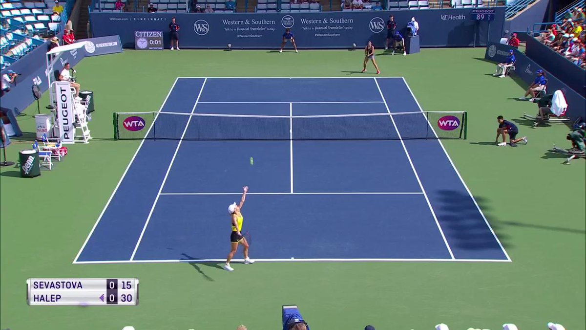 Acrobatically put away by @Simona_Halep! #CincyTennis https://t.co/foh...