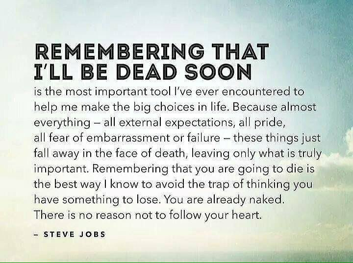 Wisdom about death, dying from Steve Jobs. Whn u get a terminal cancer diagnosis u see things differently . #CancerSurvivor <br>http://pic.twitter.com/YoVtSSHW4Q