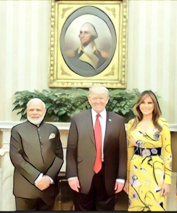 Art work #portrait #Trump @realDonaldTrump  &amp; Shri  @narendramodi   #USA #India #Indian #strategy #California<br>http://pic.twitter.com/RZZLKjziC9