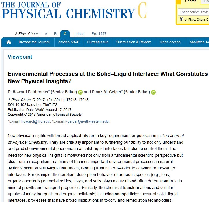 Latest #JPCViewpoint #OA #Environmental Processes at the Solid–Liquid  Interface: What Constitutes New PhysInsights?  http:// pubs.acs.org/doi/10.1021/ac s.jpcc.7b07172 &nbsp; … <br>http://pic.twitter.com/zYXcO7DK0s