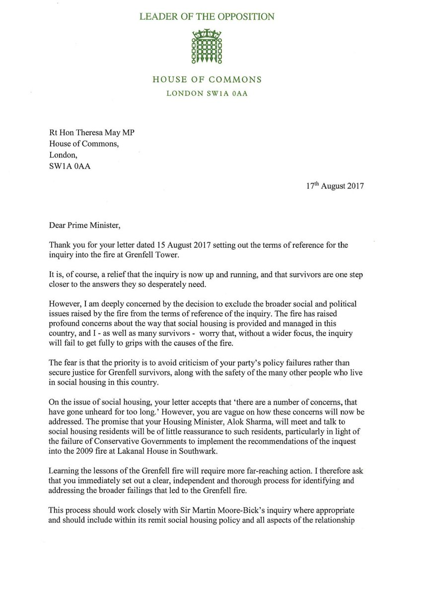 My letter to @theresa_may about decision to exclude the broader social & political issues raised by the Grenfell Tower fire from the inquiry