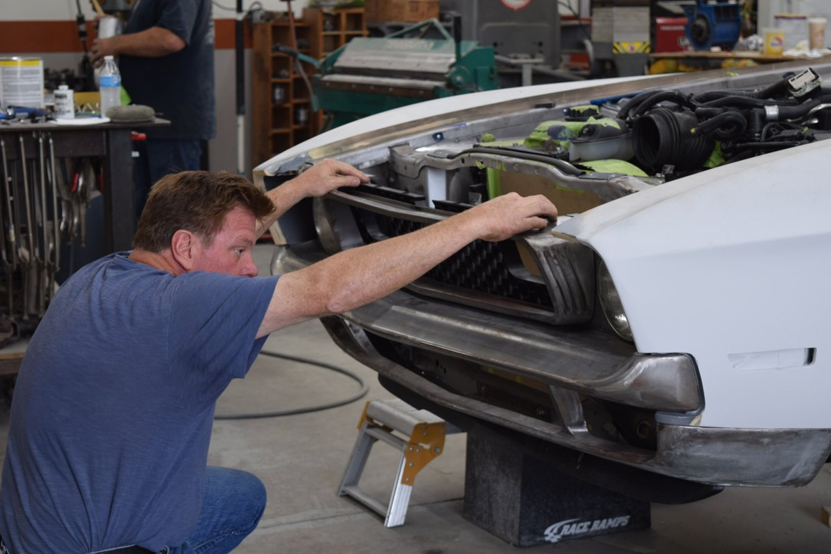 Checking fitment on the #machfoose grille. This '71 Mustang Mach1 debuts Tues 10/31 in the #BASF @RefinishNews booth at the @SEMASHOW