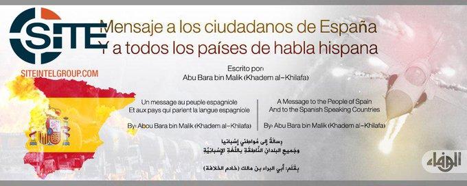 Messaggio a tutti i paesi di lingua spagnola, reperibile sul sito di Rita Katz (SITE)