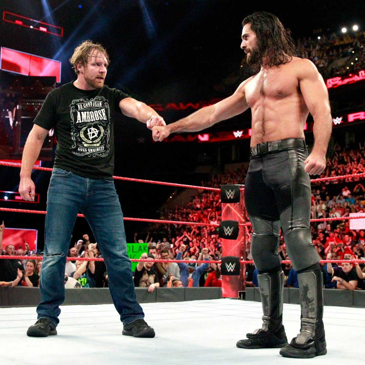 Photo from Dean&#39;s WWE Facebook Page:  One more time, Seth Rollins? #DeanAmbrose #Raw <br>http://pic.twitter.com/ktA1dZR21S