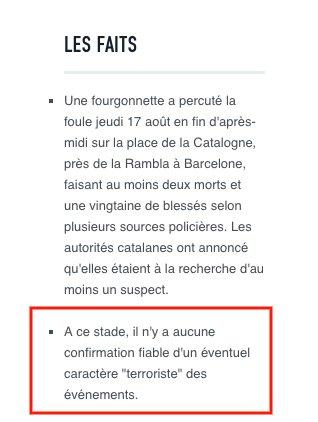 #Barcelone : @lemondefr, qui ne relaye que des infos vérifiées, affirme à 18h30 qu'il n'y a pas de qualification officielle de terrorisme.