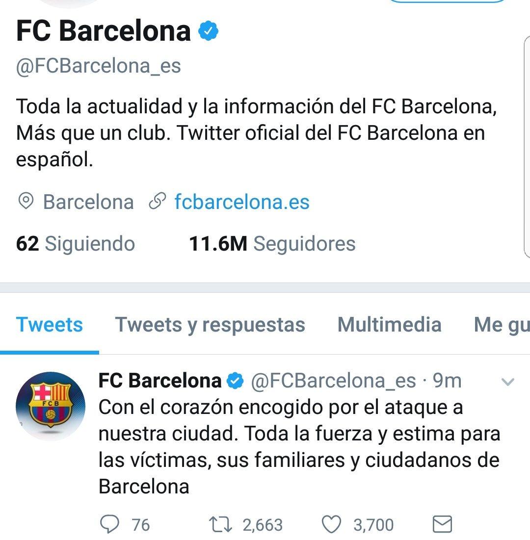 La cuenta del Barcelona se une al dolor: https://t.co/qChGQfKQH1
