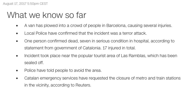 BREAKING: Police confirm #Barcelona incident was a terror attack. Here...