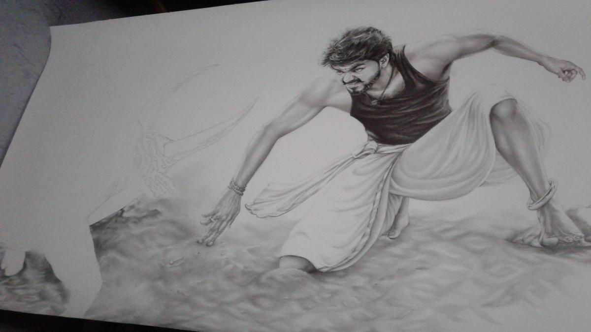 Mersal Vijay Pencil Drawing