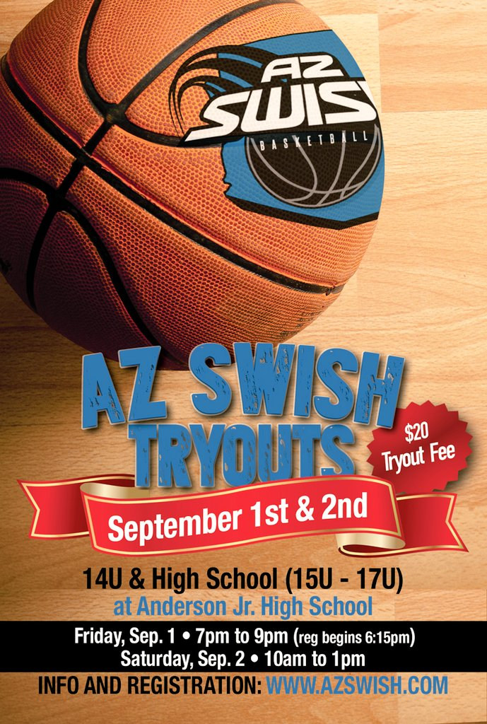 Tryouts coming Sep 1-2!! Sign up today for opportunities that can help you gain exposure at the next level!!  http://www. AZSwish.com  &nbsp;   #share <br>http://pic.twitter.com/2RLKJ2nXc1