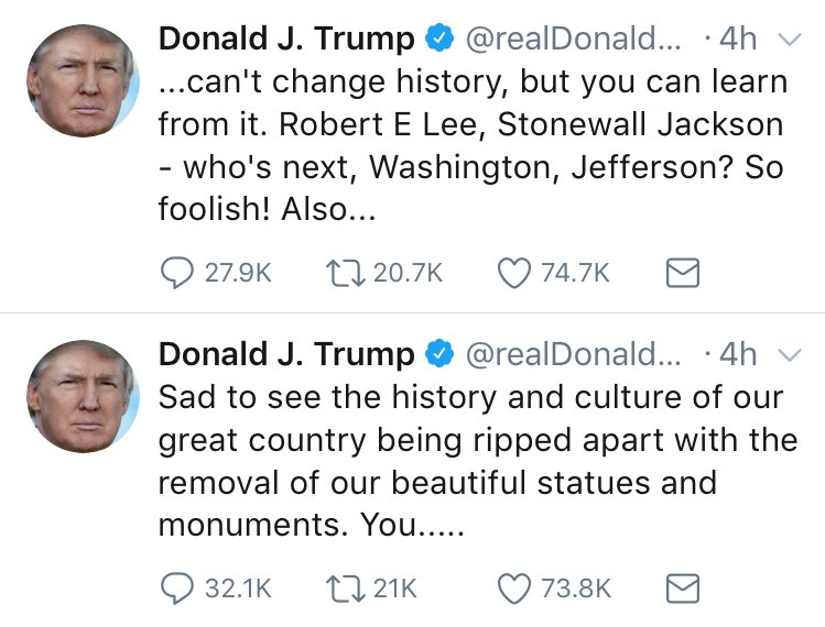 No. This is about the hate those monuments represent. And it's about your shameless fueling of racism and prejudice for political gain.