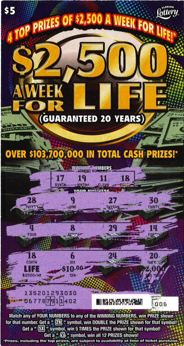 Florida Lottery On Twitter Rt To Congratulate Paulo Morales Marquez From Homestead For Claiming The First 2 500 A Week For Life Top Prize From The New 5 Scratch Off Https T Co Pwoqg8hmsx