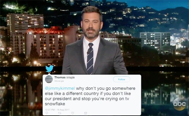 Watch Jimmy Kimmel read tweets from angry Trump supporters https://t.c...