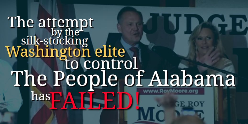 The elites from the SWAMP have Failed in #Alabama! Send Judge Moore to DC to help #DrainTheSwamp! #MooreSenate #ALSEN<br>http://pic.twitter.com/RIh9fjv5NC