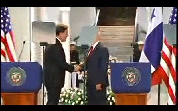 Note to VP Advance team: Teleprompters mar photo of handshake by VP Pence and Panamanian Pres Juan Carlos Varela.  Twice.