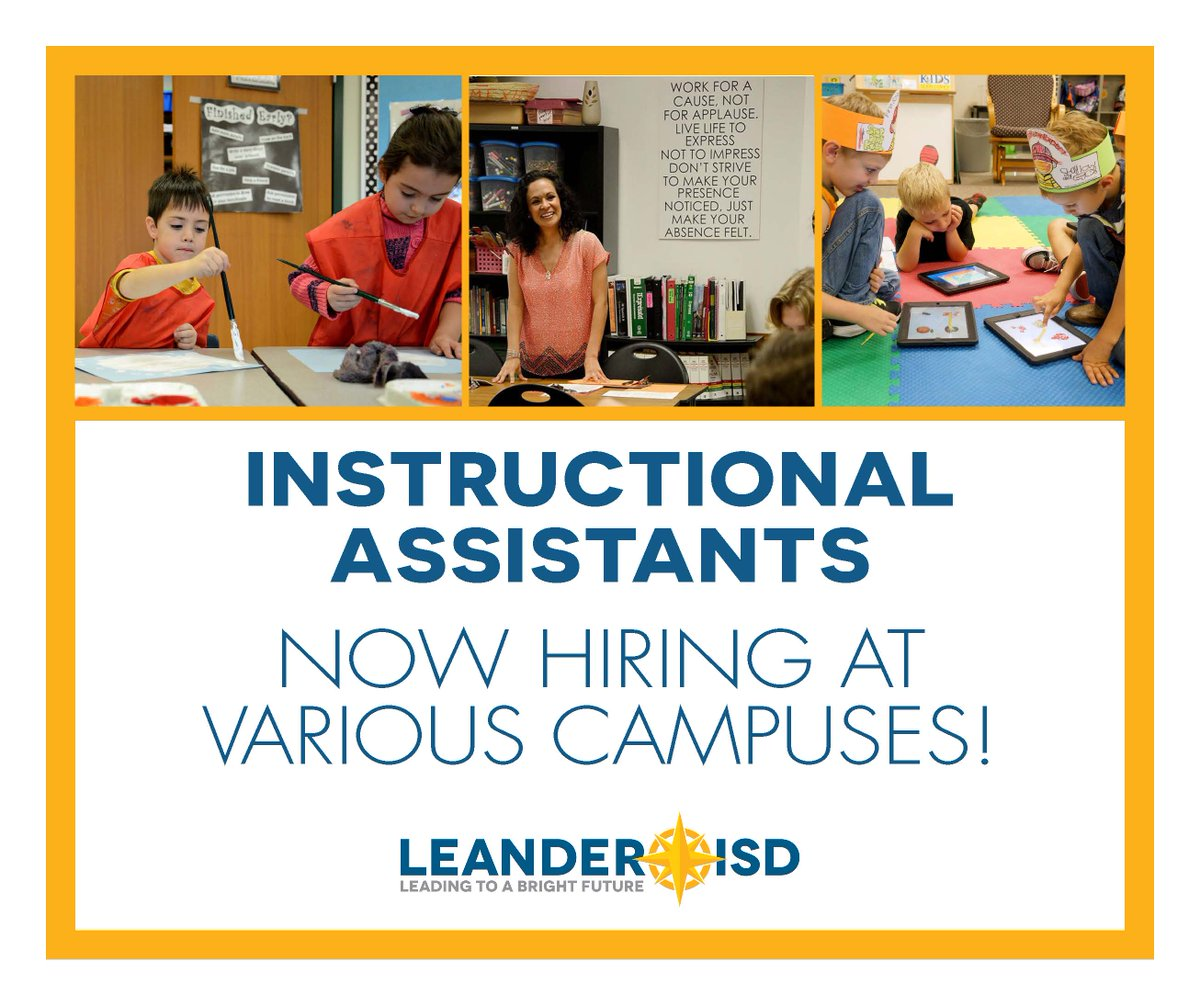 #NowHiring instructional assistants @LeanderISD elementary, middle school and high schools for 17-18!  http:// bit.ly/2wjRMuw  &nbsp;   #joinourteam! <br>http://pic.twitter.com/003gruYJs3