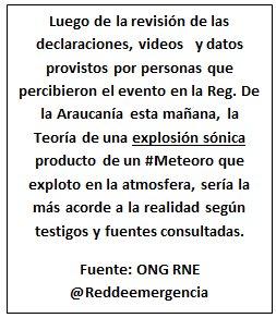 RT @reddeemergencia [Cierre de evento, por estallido Sonico sobre la Región de la Araucania] https://t.co/Em4SAE3zYq
