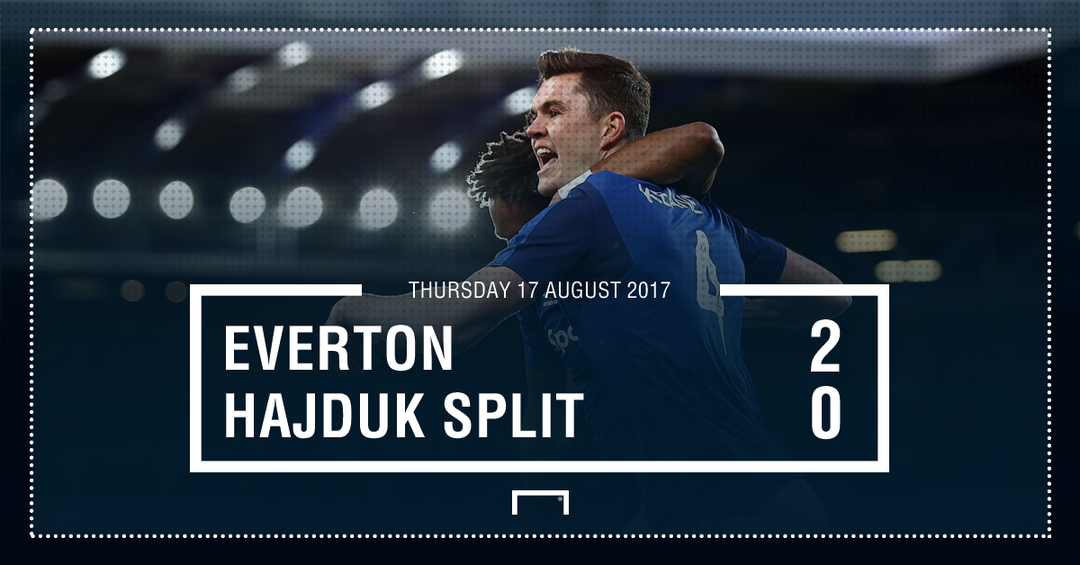 HT: Everton 2-0 Hajduk Split.  The Toffees are in control at Goodison...