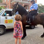 "Mounted Patrol Horse ""Vader"" and PO Paula Brant were a big hit at the Washington Place Improvement Association's recent ice cream social!"
