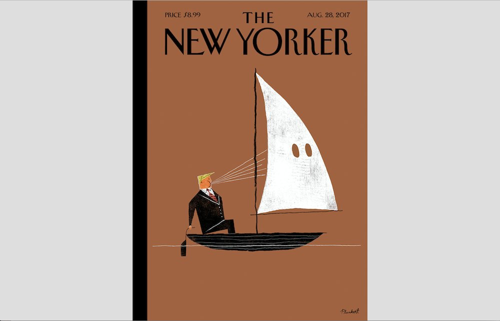 'New Yorker' cover depicts Trump sailing with KKK https://t.co/o3cXyKY27k