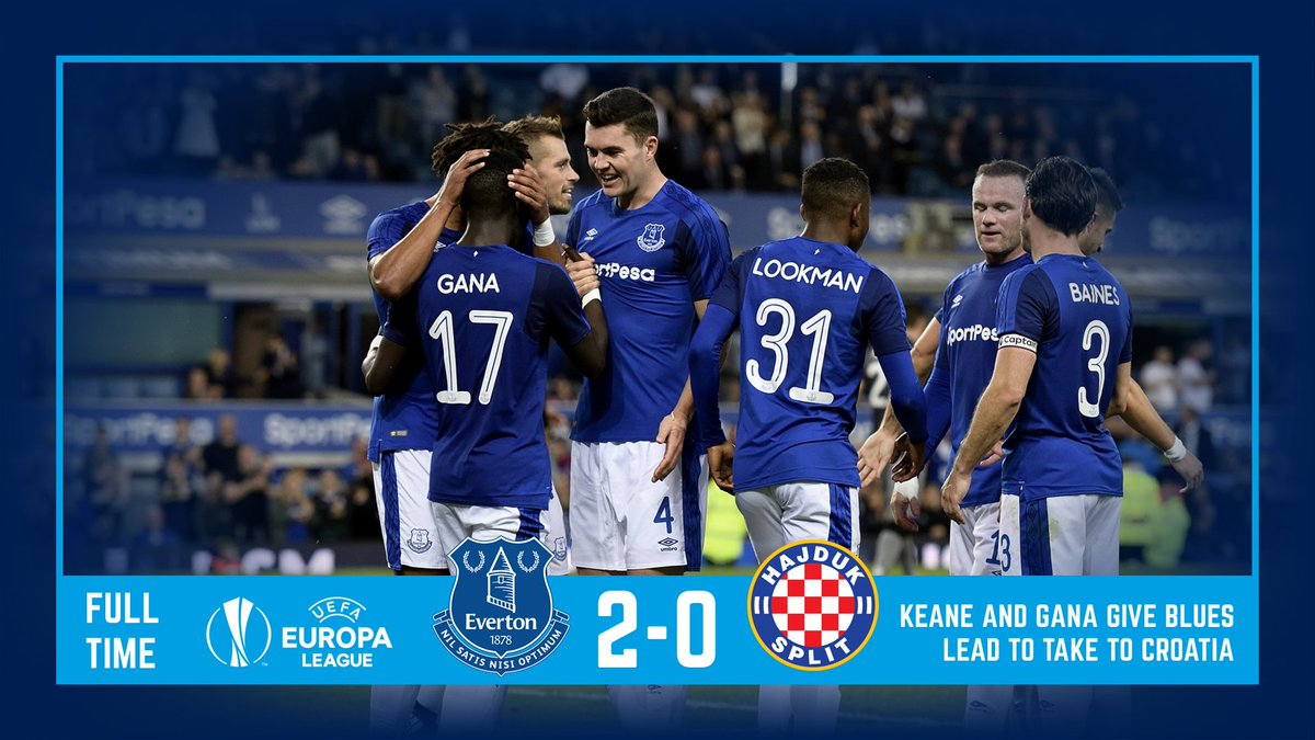 FT: #EFC 2-0 @hajduk. Blues take two-goal lead to Croatia next week thanks to @michaelkeane04 &amp; @IGanaGueye. Well played, lads! #EFCmatchday<br>http://pic.twitter.com/D8x6jDGUIi