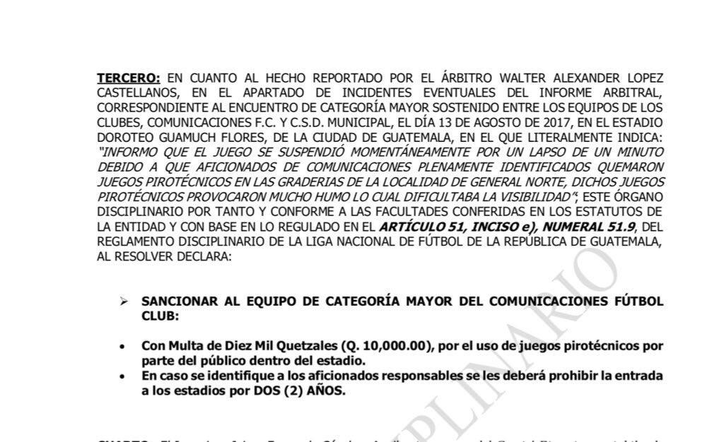 #Apertura2017   Comunicaciones recibe multa de Q10,000 por juegos piro...