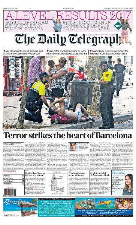 Tomorrow's Daily Telegraph front page: Terror strikes the heart of Bar...